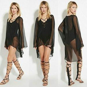 Sheer Black Highlow Longsleeve Flowy Tunic Witchy